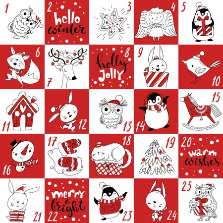 Winter Advent Christmas calendar with characters and handwritten text.