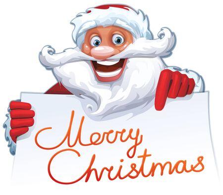 Vector Christmas card with funny cartoon Santa Clause characters