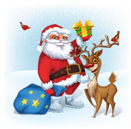 Merry Christmas card with Funny Santa Claus and Reindeer.