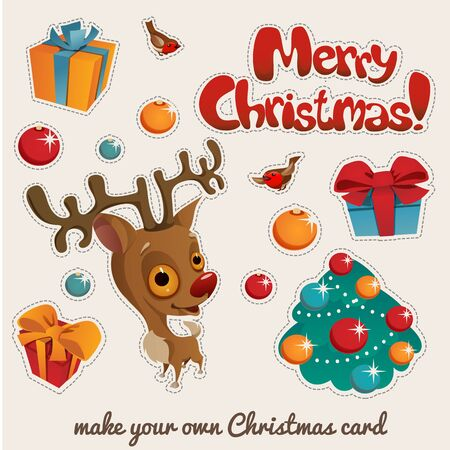 Christmas stickers set with holiday symbols and baby reindeer  イラスト・ベクター素材