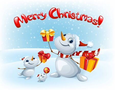 Merry Christmas card with Funny Snowmen with gifts