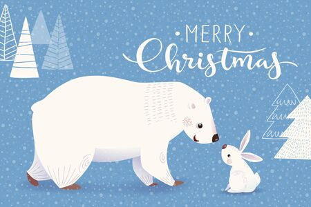 Winter Christmas greeting card with cartoon polar bear and rabbit