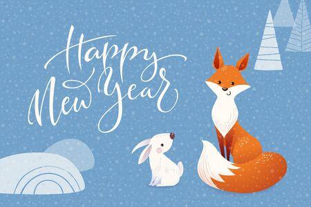 Christmas vector greeting card with cartoon fox and rabbit
