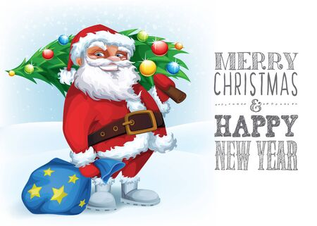Merry Christmas card with Funny Santa with a tree and gifts