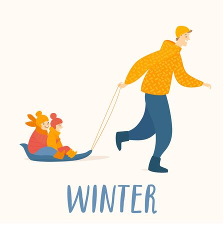 Winter card with father and kids go sledging.