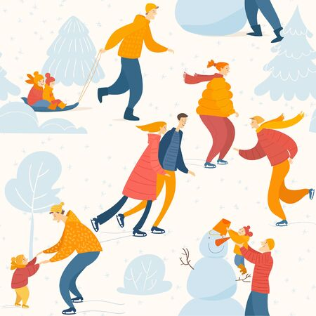 Vector Merry Christmas seamless pattern with people Иллюстрация