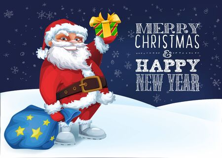 Merry Christmas card with Funny Santa with gifts in night mood
