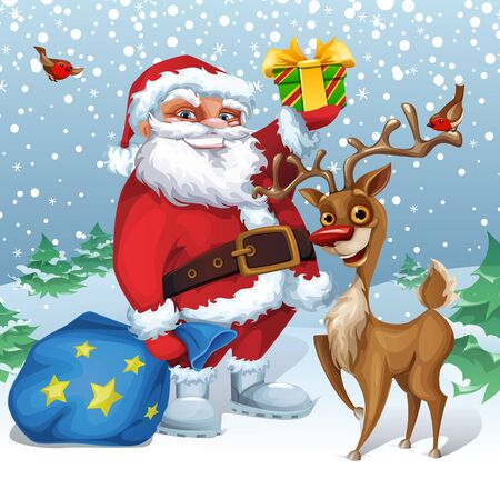 Vector Christmas card with funny cartoon Santa Clause and reindeer characters
