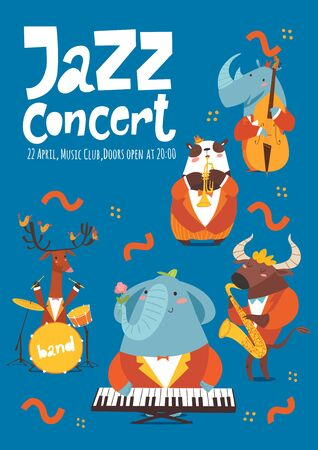 Jazz concert music poster design with cartoon animals playing music instruments