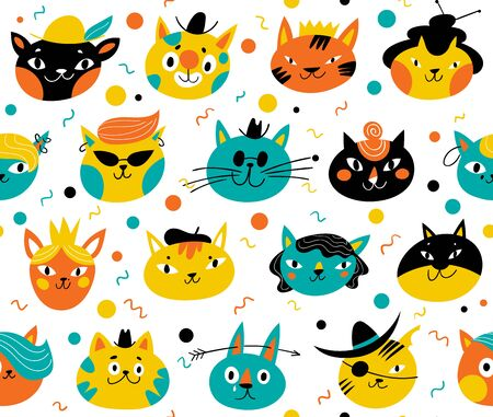 Vector seamless pattern for textile or background with cats Archivio Fotografico - 134405610