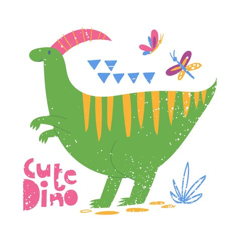 Stylized poster with cute Dinosaur and lettering.