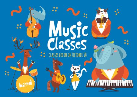 Vector music classes advertisement flyer or poster design with cute animals playing music