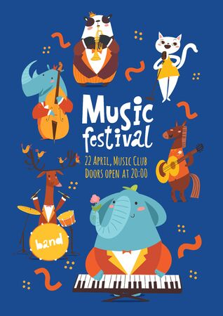 Vector music festival poster design with cartoon animals playing music instruments and singing