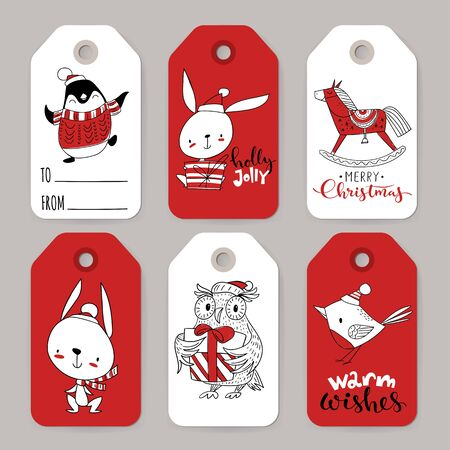 Six vector winter sale Christmas tags with cartoon characters