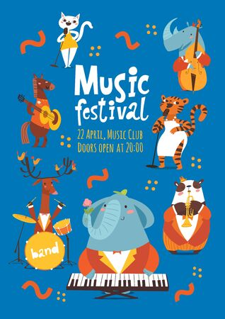 Jazz music festival poster design with cartoon animals playing music instruments Stock Illustratie