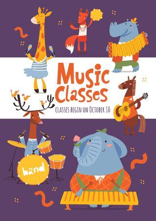 Conception de flyer ou d'affiche publicitaire pour les cours de musique vectorielle avec des animaux mignons jouant d'un instrument de musique Vecteurs