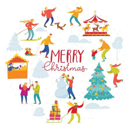 Vector Christmas winter holiday card for with people doing winter activities.