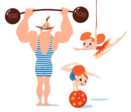 Vector set of funny cartoon flat  style circus characters. Strong athlete  and acrobats characters.  일러스트
