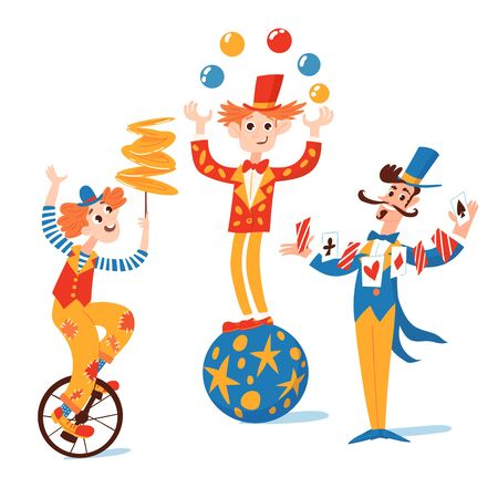Vector set of funny cartoon circus  characters. Gymnasts, magician and clown funny characters.
