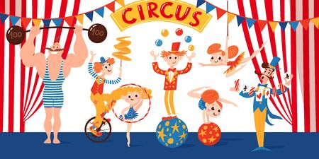 Vector circus banner design with funny cartoon comic characters. Gymnasts, magician, clown and acrobats.