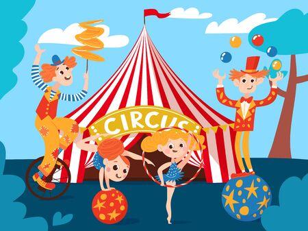 Fondo de vector de circo con personajes de cómic de dibujos animados lindo y circo. Gimnastas y acróbatas. Ilustración de vector