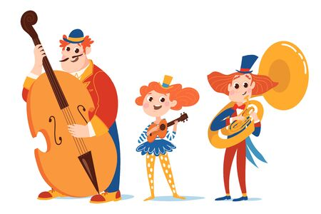 Cartoon vector characters play jazz music in circus costumes.