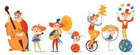 Set of vector cartoon musicians and circus characters Ilustração