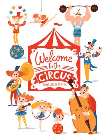 Circus characters and musicians on cute vector poster design with hand drawn lettering. Musicians, gymnasts, magician, clown and acrobats.