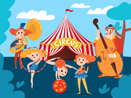 Circus background with musicians and cartoon cute characters