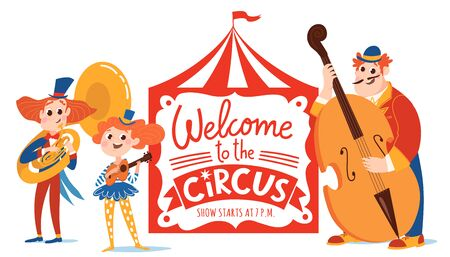 Welcome to the circus vector poster with lettering and cartoon cute characters