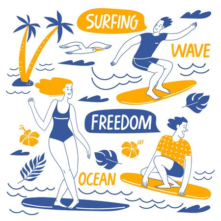 Surfing lifestyle motivational vector design with people, ocean elements and lettering