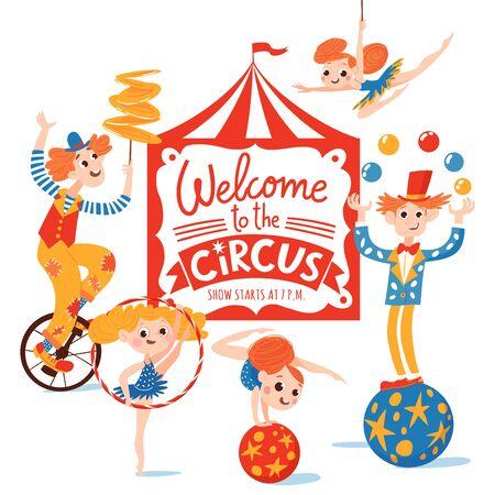 Conception d'affiches vectorielles de cirque avec des personnages de bandes dessinées drôles et des lettres. Gymnastes, magicien, clown et acrobates. Vecteurs