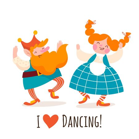 Two cartoon vector dancing gnome characters. I love dancing card. Two dwarfs or cute elfs celebrating holidays