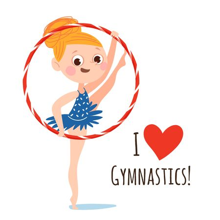 Vector set of funny cartoon flat style circus characters. Strong athlete and acrobats characters. Ilustrace