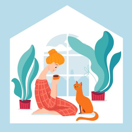 Stay home vector quarantine illustration with a woman spend time at home