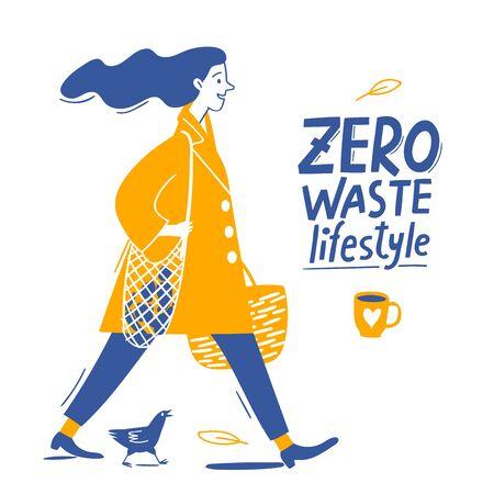 Eco lifestyle motivational vector design with zero waste text an dwoman Vektoros illusztráció