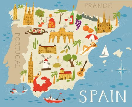 Vector map of Spain with culture points Stock Illustratie