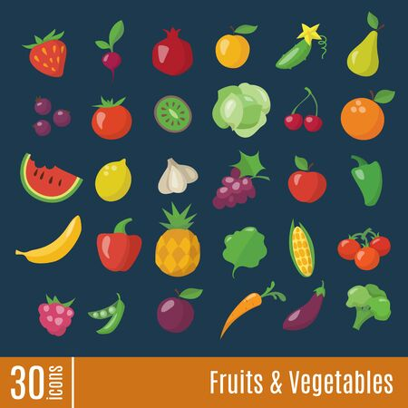 Flat icons in Fruits and Vegetables infographic icons set. Healthy food flat style vector icons.