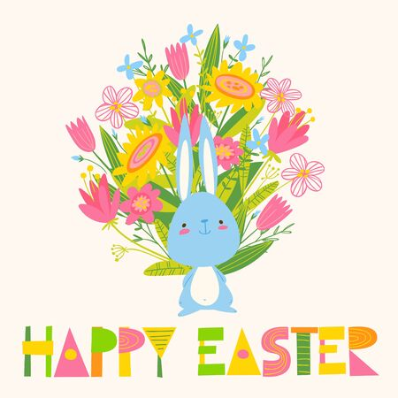 Cute vector card with little bunny, flowers and Happy Easter lettering