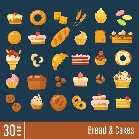 Bread and cakes info-graphic icons set in flat style. Vektorgrafik