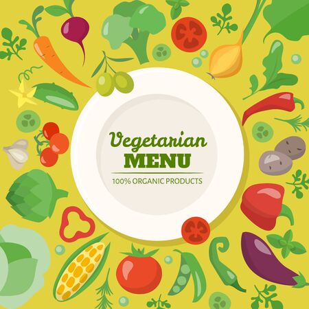 Vegetarian menu cover design with different vegetables and text