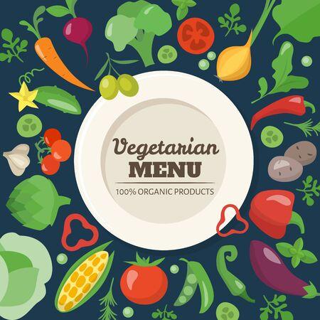 Vegetarian menu cover design with different vegetables