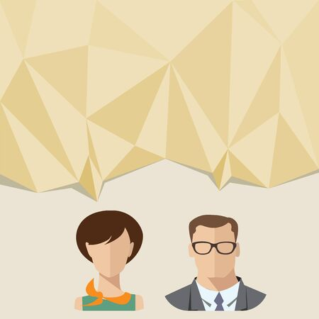 Communication flat style illustration with male and female characters.