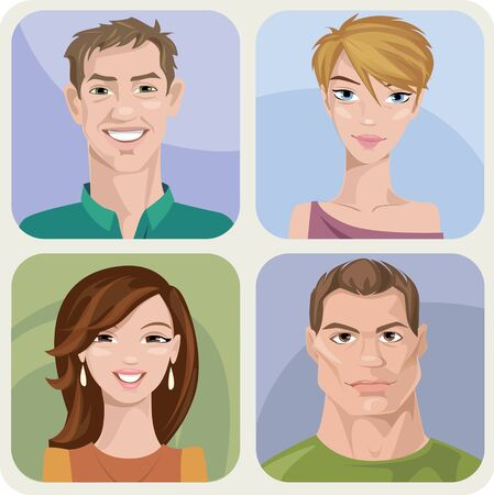 Set of four male and female young and adult characters.