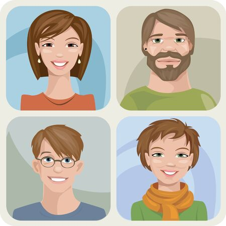 Set of four male and female young characters. Vetores