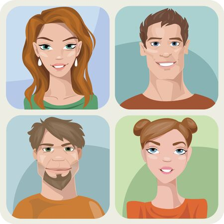 Set of four male and female young characters.