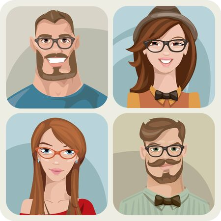 Set of four male and female young characters. Illustration