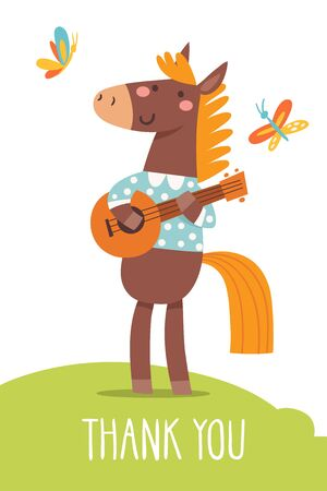 Funny cartoon hand drawn poster with horse playing music.