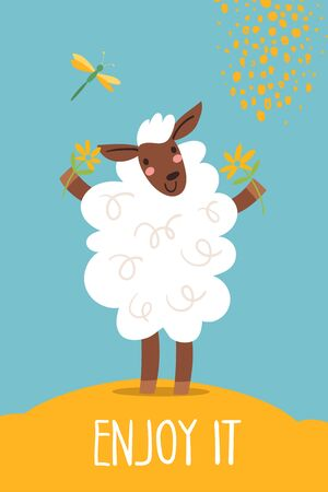 Funny cartoon hand drawn poster with sheep Illustration