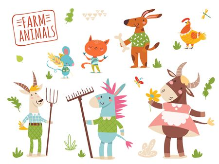 Set of funny hand drawn farm country animals.